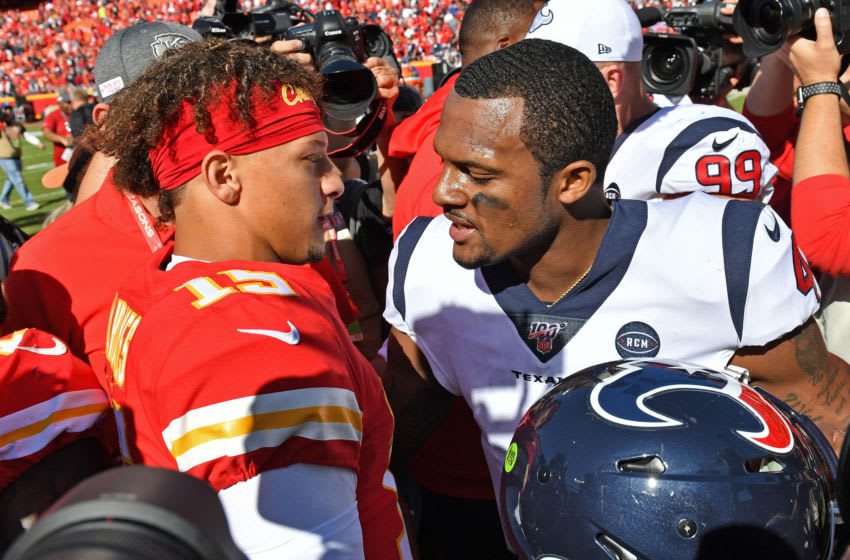 KANSAS CITY, MO - OCTOBER 13: Quarterback Deshaun Watson #4 of the Houston Texans talks with quarterback Patrick Mahomes #15 of the Kansas City Chiefs after beating the Chiefs at Arrowhead Stadium on October 13, 2019 in Kansas City, Missouri. (Photo by Peter Aiken/Getty Images)