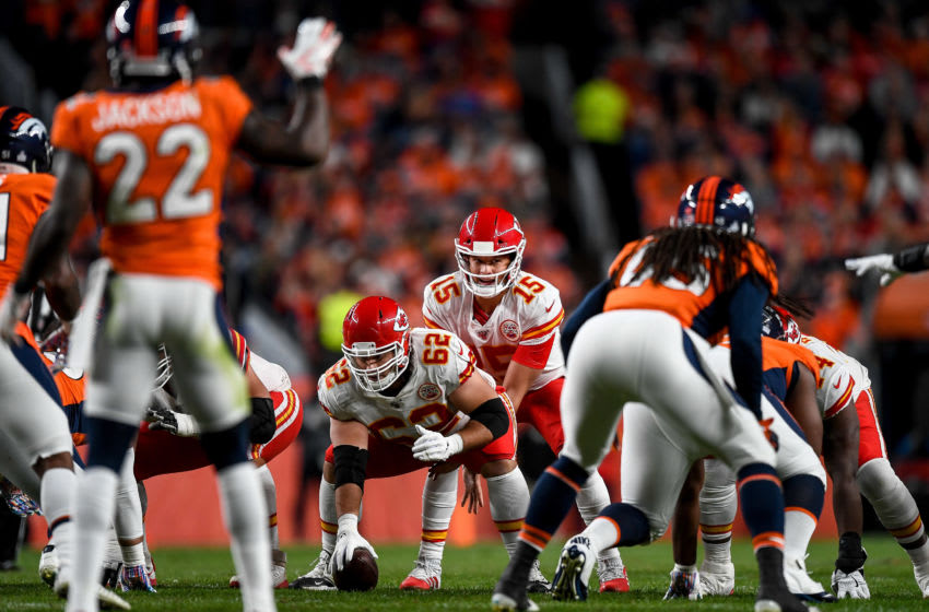 DENVER, CO - OCTOBER 17: Patrick Mahomes #15 of the Kansas City Chiefs lines up behind Austin Reiter #62 in the second quarter of a game against the Denver Broncos at Empower Field at Mile High on October 17, 2019 in Denver, Colorado. (Photo by Dustin Bradford/Getty Images)