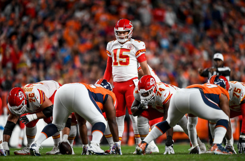 DENVER, CO - OCTOBER 17: Patrick Mahomes #15 of the Kansas City Chiefs runs the offense against the Denver Broncos in the second quarter of a game at Empower Field at Mile High on October 17, 2019 in Denver, Colorado. (Photo by Dustin Bradford/Getty Images)