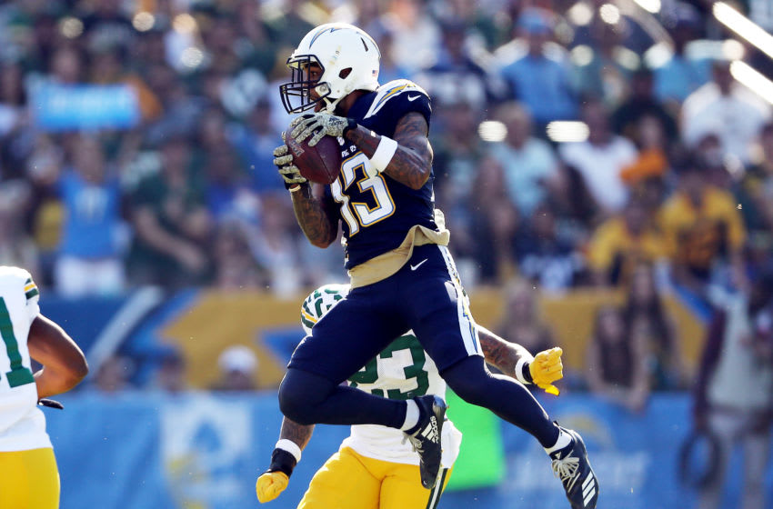 CARSON, CALIFORNIA - NOVEMBER 03: Keenan Allen #13 of the Los Angeles Chargers makes a reception against Jaire Alexander #23 of the Green Bay Packers during the first half at Dignity Health Sports Park on November 03, 2019 in Carson, California. (Photo by Sean M. Haffey/Getty Images)