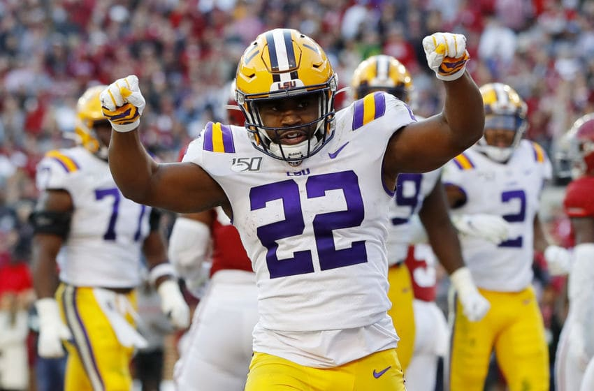 TUSCALOOSA, ALABAMA - NOVEMBER 09: Clyde Edwards-Helaire #22 of the LSU Tigers celebrates after rushing for a 1-yard touchdown during the second quarter against the Alabama Crimson Tide in the game at Bryant-Denny Stadium on November 09, 2019 in Tuscaloosa, Alabama. (Photo by Kevin C. Cox/Getty Images)