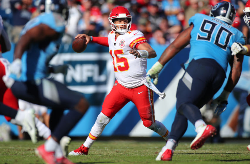 NASHVILLE, TENNESSEE - NOVEMBER 10: Quarterback Patrick Mahomes #15 of the Kansas City Chiefs looks to pass against the Tennessee Titans in the second quarter at Nissan Stadium on November 10, 2019 in Nashville, Tennessee. (Photo by Brett Carlsen/Getty Images)