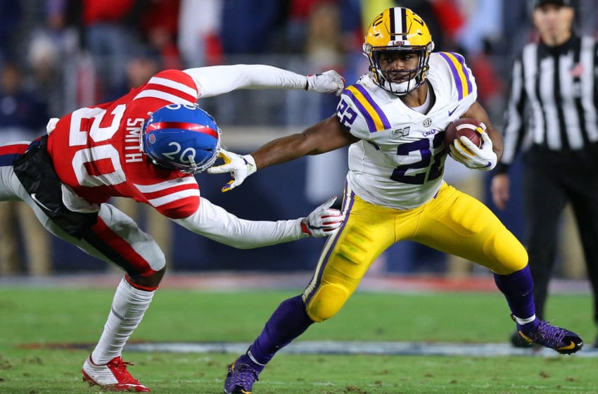 LSU running back Clyde Edwards-Helaire (Photo by Jonathan Bachman/Getty Images)