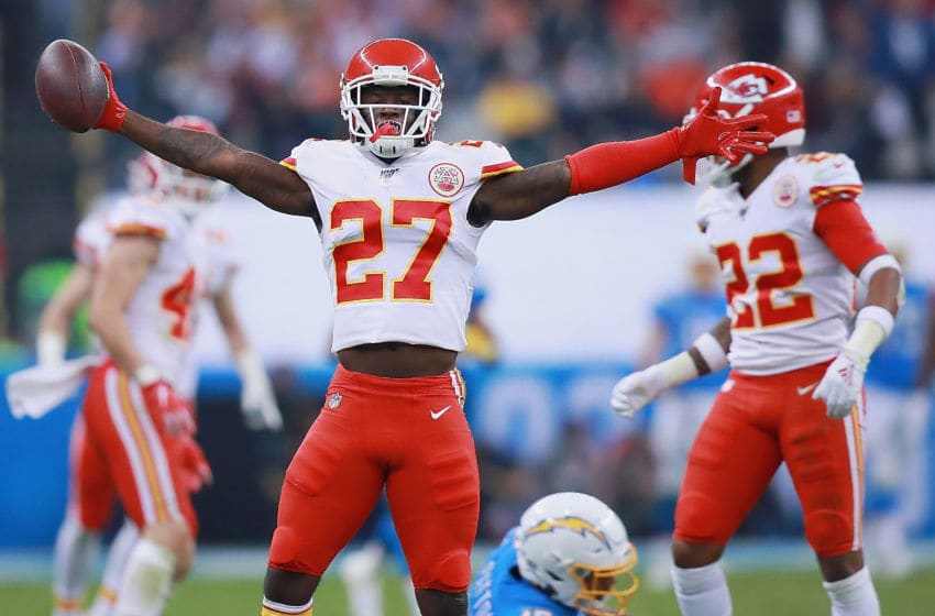 MEXICO CITY, MEXICO - NOVEMBER 18: Defensive back Rashad Fenton #27 of the Kansas City Chiefs celebrates an interception in the fourth quarter over the Los Angeles Chargers at Estadio Azteca on November 18, 2019 in Mexico City, Mexico. (Photo by Manuel Velasquez/Getty Images)