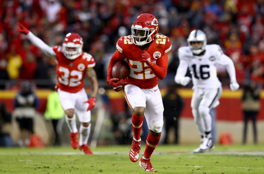 KANSAS CITY, MISSOURI - DECEMBER 01: Juan Thornhill #22 of the Kansas City Chiefs runs for the end zone to score a touchdown after intercepting a ball intended for Tyrell Williams #16 of the Oakland Raiders during the second quarter in the game at Arrowhead Stadium on December 01, 2019 in Kansas City, Missouri. (Photo by Jamie Squire/Getty Images)