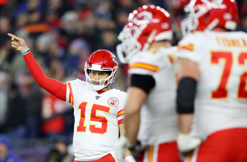 FOXBOROUGH, MASSACHUSETTS - DECEMBER 08: Patrick Mahomes #15 of the Kansas City Chiefs directs his team during the game against the New England Patriots at Gillette Stadium on December 08, 2019 in Foxborough, Massachusetts. (Photo by Maddie Meyer/Getty Images)