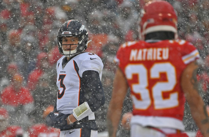 KANSAS CITY, MO - DECEMBER 15: Quarterback Drew Lock #3 of the Denver Broncos looks over at strong safety Tyrann Mathieu #32 of the Kansas City Chiefs, as he comes to the line of scrimmage, during the second half at Arrowhead Stadium on December 15, 2019 in Kansas City, Missouri. (Photo by Peter G. Aiken/Getty Images)