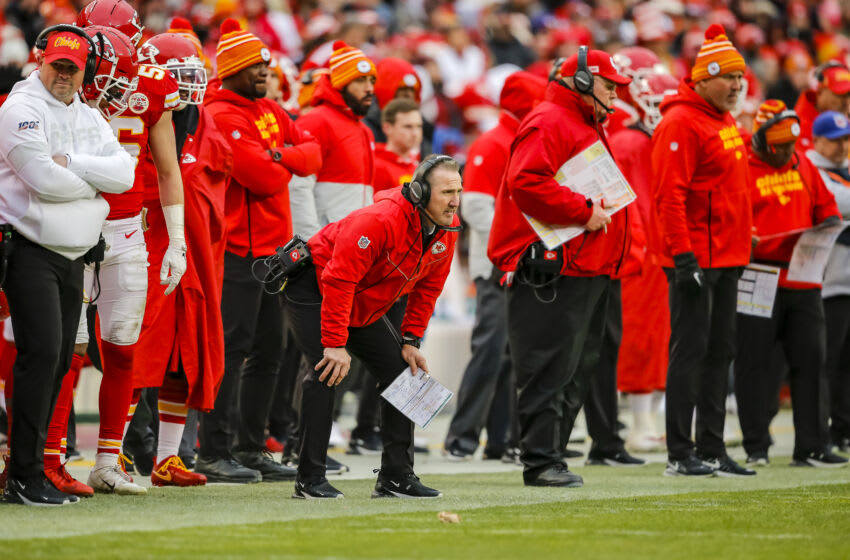 KANSAS CITY, MO - DECEMBER 29: Kansas City Chiefs defensive coordinator Steve Spagnuolo watches fourth quarter game action against the Los Angeles Chargers at Arrowhead Stadium on December 29, 2019 in Kansas City, Missouri. (Photo by David Eulitt/Getty Images)