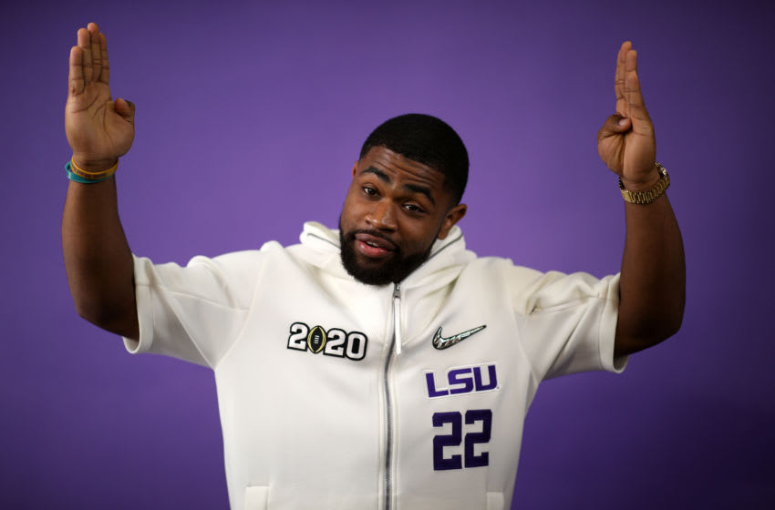 NEW ORLEANS, LOUISIANA - JANUARY 11: Clyde Edwards-Helaire #22 of the LSU Tigers attends media day for the College Football Playoff National Championship on January 11, 2020 in New Orleans, Louisiana. (Photo by Chris Graythen/Getty Images)