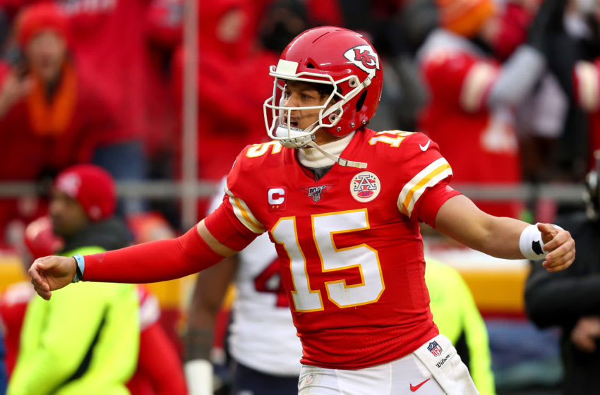 KANSAS CITY, MISSOURI - JANUARY 12: Patrick Mahomes #15 of the Kansas City Chiefs celebrates a touchdown pass against the Houston Texans during the second quarter in the AFC Divisional playoff game at Arrowhead Stadium on January 12, 2020 in Kansas City, Missouri. (Photo by Tom Pennington/Getty Images)