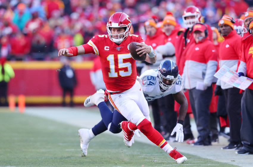KANSAS CITY, MISSOURI - JANUARY 19: Patrick Mahomes #15 of the Kansas City Chiefs runs on his way to scoring a 27 yard touchdown in the second quarter against the Tennessee Titans in the AFC Championship Game at Arrowhead Stadium on January 19, 2020 in Kansas City, Missouri. (Photo by Tom Pennington/Getty Images)