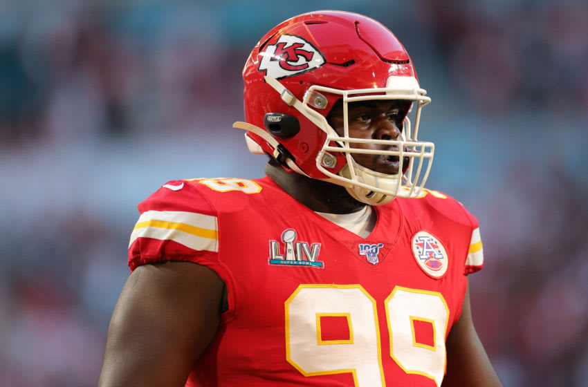 MIAMI, FLORIDA - FEBRUARY 02: Khalen Saunders #99 of the Kansas City Chiefs warms up prior to Super Bowl LIV against the San Francisco 49ers at Hard Rock Stadium on February 02, 2020 in Miami, Florida. (Photo by Maddie Meyer/Getty Images)
