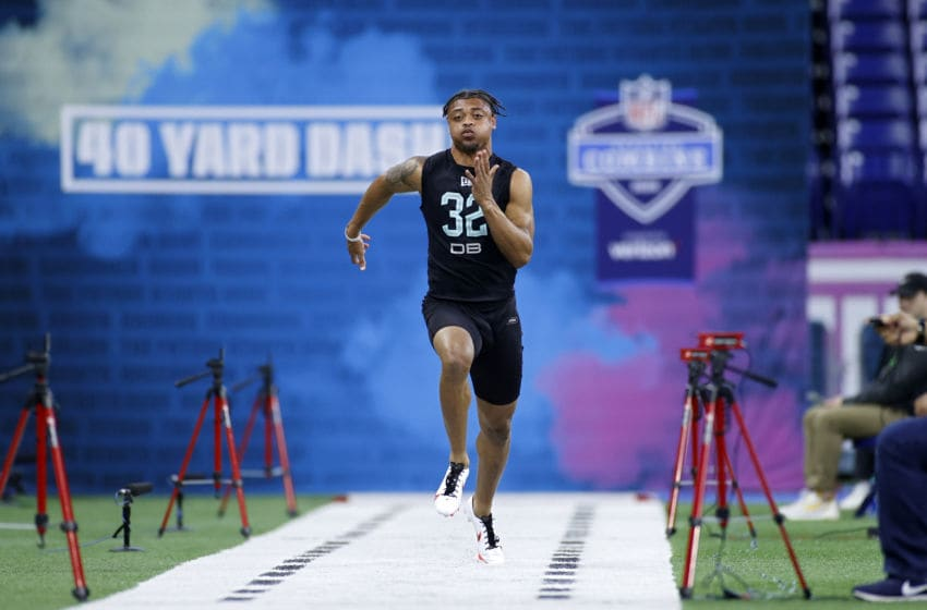 INDIANAPOLIS, IN - MARCH 01: Defensive back A.J. Terrell of Clemson runs the 40-yard dash during the NFL Combine at Lucas Oil Stadium on February 29, 2020 in Indianapolis, Indiana. (Photo by Joe Robbins/Getty Images)