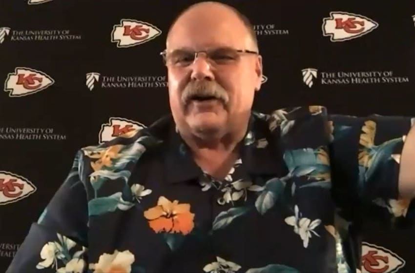 UNSPECIFIED LOCATION - APRIL 23: (EDITORIAL USE ONLY) In this still image from video provided by the Kansas City Chiefs, Head Coach Andy Reid speaks via teleconference after being selected during the first round of the 2020 NFL Draft on April 23, 2020. (Photo by Getty Images/Getty Images)