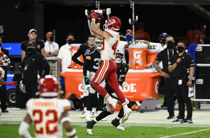 LAS VEGAS, NEVADA - NOVEMBER 22: Free safety Daniel Sorensen #49 of the Kansas City Chiefs makes an interception against the Las Vegas Raiders in the second half of their game at Allegiant Stadium on November 22, 2020 in Las Vegas, Nevada. (Photo by Chris Unger/Getty Images)