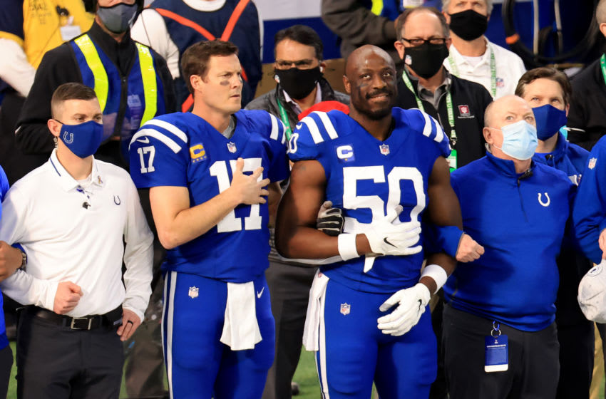 INDIANAPOLIS, INDIANA - DECEMBER 20: Philip Rivers #17 and Justin Houston #50 of the Indianapolis Colts on the sidelines before the game against the Houston Texans at Lucas Oil Stadium on December 20, 2020 in Indianapolis, Indiana. (Photo by Justin Casterline/Getty Images)