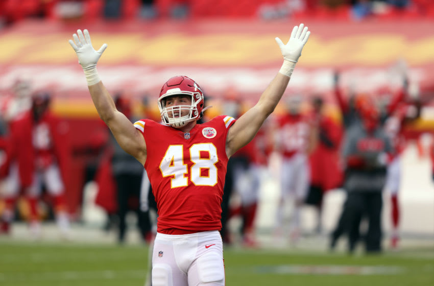 KANSAS CITY, MISSOURI - JANUARY 03: Nick Keizer #48 of the Kansas City Chiefs celebrates after a touchdown during the 1st half of the game against the Los Angeles Chargers at Arrowhead Stadium on January 03, 2021 in Kansas City, Missouri. (Photo by Jamie Squire/Getty Images)