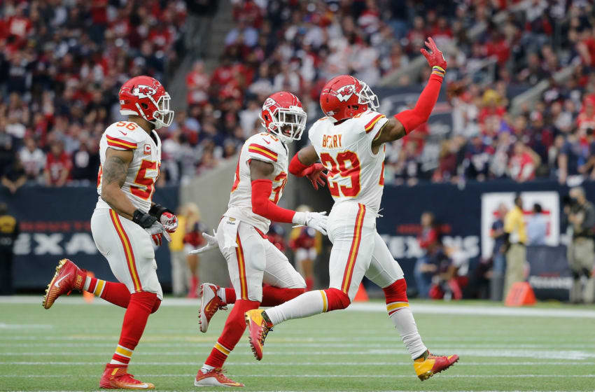 HOUSTON, TX - JANUARY 09: Eric Berry #29 of the Kansas City Chiefs celebrates his first quarter interception against the Houston Texans during the AFC Wild Card Playoff game at NRG Stadium on January 9, 2016 in Houston, Texas. (Photo by Thomas B. Shea/Getty Images)