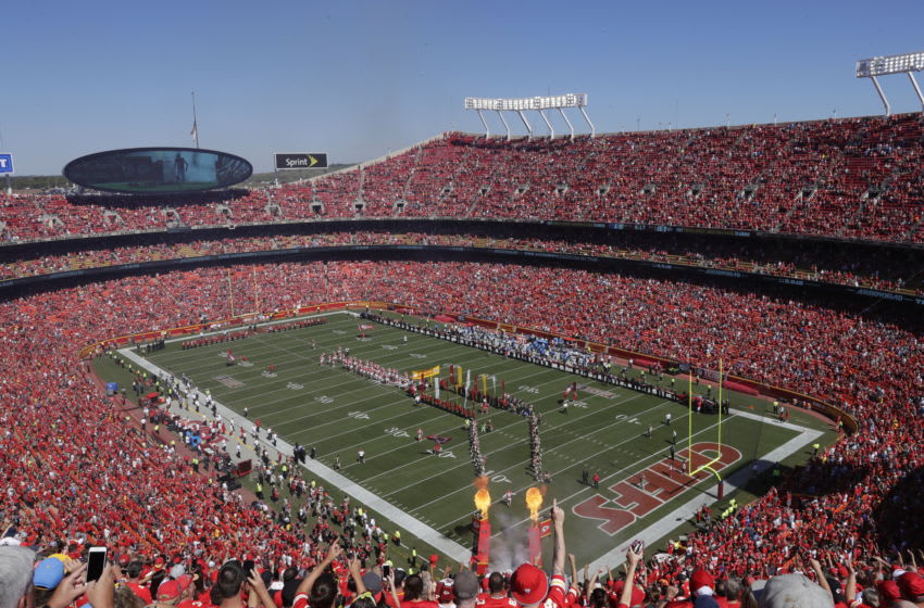 KANSAS CITY, MO - SEPTEMBER 11: Kansas City Chiefs fans pack Arrowhead Stadium for player introductions before the first game of the season against the San Diego Chargers September 11, 2016 in Kansas City, Missouri. (Photo by Jamie Squire/Getty Images)