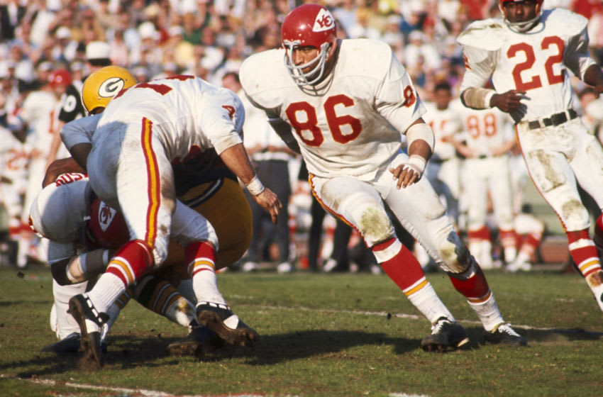 Kansas City Chiefs Hall of Fame defensive tackle Buck Buchanan (86) charges upfield during Super Bowl I, a 35-10 loss to the Green Bay Packers on January 15, 1967, at the Los Angeles Memorial Coliseum in Los Angeles, California.10 win over the Kansas City Chiefs in Super Bowl I played on January 15, 1967 at the Los Angeles Memorial Colesiumin Los Angeles, California. (Photo by James Flores/Getty Images) *** Local Caption ***