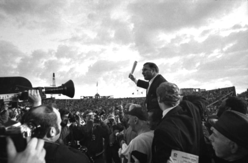 BUFFALO, NY - JANUARY 1, 1967: Head coach Hank Stram of the Kansas City Chiefs is carried from the field after the AFL Championship Game on January 1, 1967 against the Buffalo Bills at War Memorial Stadium in Buffalo, New York. JV00318 (Photo by: John Vawter Collection/Diamond Images/Getty Images)