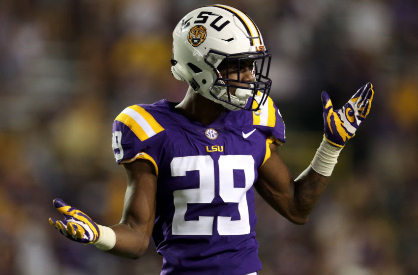 BATON ROUGE, LA - SEPTEMBER 30: Andraez Williams #29 of the LSU Tigers reacts during the game against the Troy Trojans at Tiger Stadium on September 30, 2017 in Baton Rouge, Louisiana. (Photo by Chris Graythen/Getty Images)