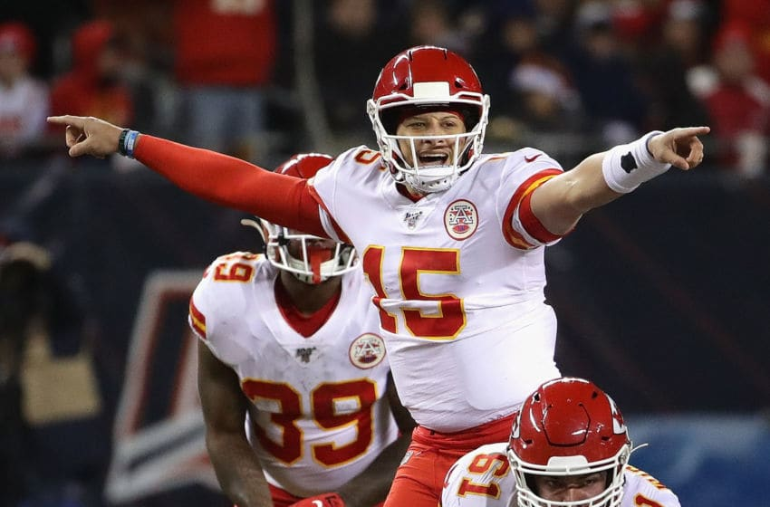 CHICAGO, ILLINOIS - DECEMBER 22: Patrick Mahomes #15 of the Kansas City Chiefs calls the offensive signals against the Chicago Bears at Soldier Field on December 22, 2019 in Chicago, Illinois. The Chiefs defeated the Bears 26-3. (Photo by Jonathan Daniel/Getty Images)