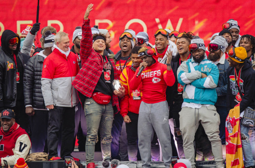 KANSAS CITY, MO - FEBRUARY 05: Tyreek Hill #10 of the Kansas City Chiefs thanks fans during the Kansas City Super Bowl parade on February 5, 2020 in Kansas City, Missouri. (Photo by Kyle Rivas/Getty Images)