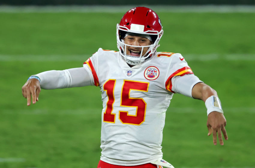 BALTIMORE, MARYLAND - SEPTEMBER 28: Patrick Mahomes #15 of the Kansas City Chiefs reacts after his fourth touchdown of the night in the fourth quarter against the Baltimore Ravens at M&T Bank Stadium on September 28, 2020 in Baltimore, Maryland. (Photo by Rob Carr/Getty Images)