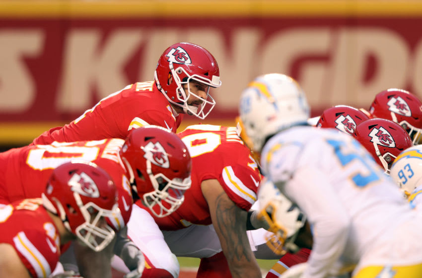 KANSAS CITY, MISSOURI - JANUARY 03: Quarterback Chad Henne #4 of the Kansas City Chiefs in action during the game against the Los Angeles Chargers at Arrowhead Stadium on January 03, 2021 in Kansas City, Missouri. (Photo by Jamie Squire/Getty Images)