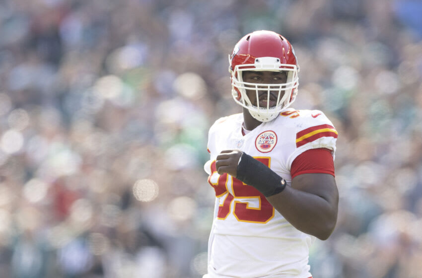 PHILADELPHIA, PA - OCTOBER 03: Chris Jones #95 of the Kansas City Chiefs looks on against the Philadelphia Eagles at Lincoln Financial Field on October 3, 2021 in Philadelphia, Pennsylvania. (Photo by Mitchell Leff/Getty Images)