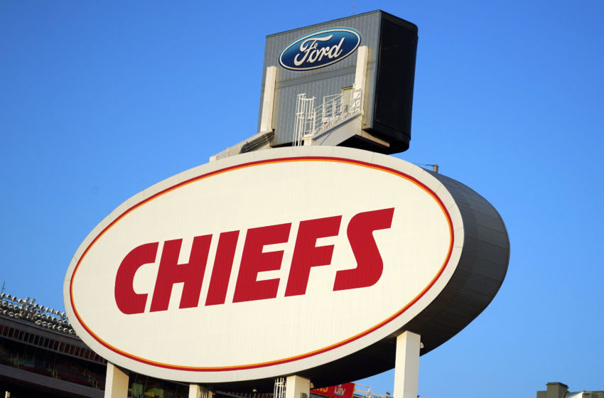 Oct 11, 2020; Kansas City, Missouri, USA; A general view of the Kansas City Chiefs logo at Arrowhead Stadium. Mandatory Credit: Kirby Lee-USA TODAY Sports