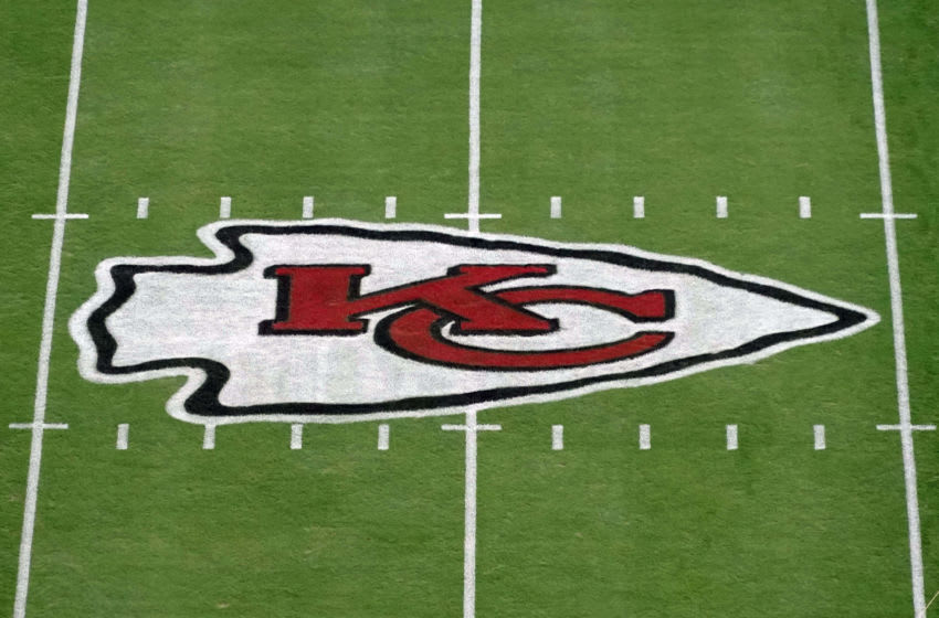 Oct 11, 2020; Kansas City, Missouri, USA; A general view of the Kansas City Chiefs logo at midfield at Arrowhead Stadium. Mandatory Credit: Kirby Lee-USA TODAY Sports