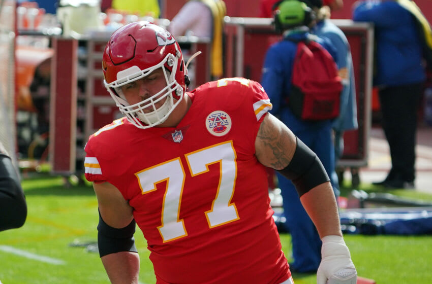 Nov 8, 2020; Kansas City, Missouri, USA; Kansas City Chiefs offensive guard Andrew Wylie (77) enters the field during warm ups before the game against the Carolina Panthers at Arrowhead Stadium. Mandatory Credit: Denny Medley-USA TODAY Sports