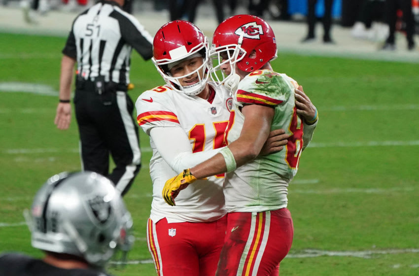 Nov 22, 2020; Paradise, Nevada, USA; Kansas City Chiefs quarterback Patrick Mahomes (15) with tight end Travis Kelce (87) after a play against the Las Vegas Raiders during the second half at Allegiant Stadium. Mandatory Credit: Kirby Lee-USA TODAY Sports