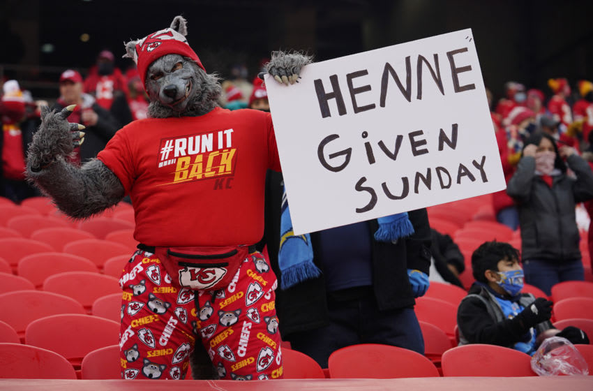 Jan 3, 2021; Kansas City, Missouri, USA; A fan of the Kansas City Chiefs holds a sign before a game between the Chiefs and the Los Angeles Chargers at Arrowhead Stadium. Mandatory Credit: Jay Biggerstaff-USA TODAY Sports