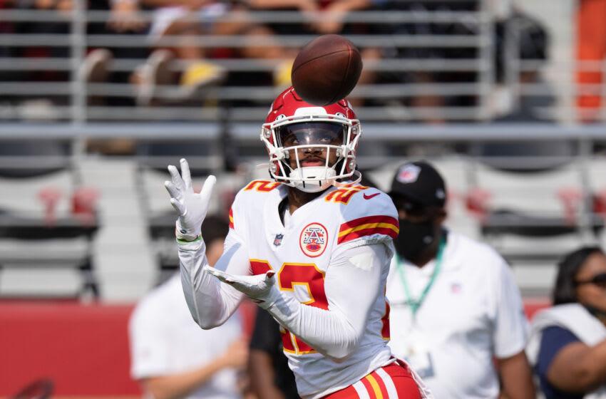 August 14, 2021; Santa Clara, California, USA; Kansas City Chiefs defensive back Juan Thornhill (22) before the game against the San Francisco 49ers at Levi's Stadium. Mandatory Credit: Kyle Terada-USA TODAY Sports