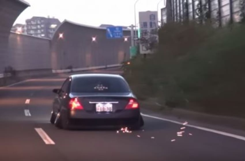 This Lowered Infiniti In Japan Sits So Low It Has No Floor And Shoots Sparks