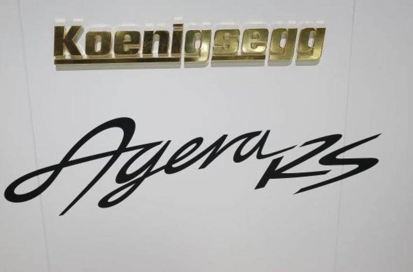 GENEVA, SWITZERLAND - MARCH 03: The Koenigsegg logo is seen during the press day at the 85th Geneva Motor Show on March 3, 2015 in Geneva, Switzerland. The International Geneva Motor Show is one of the world's five most important auto shows and runs from March 5-15. (Photo by Chesnot/Getty Images)