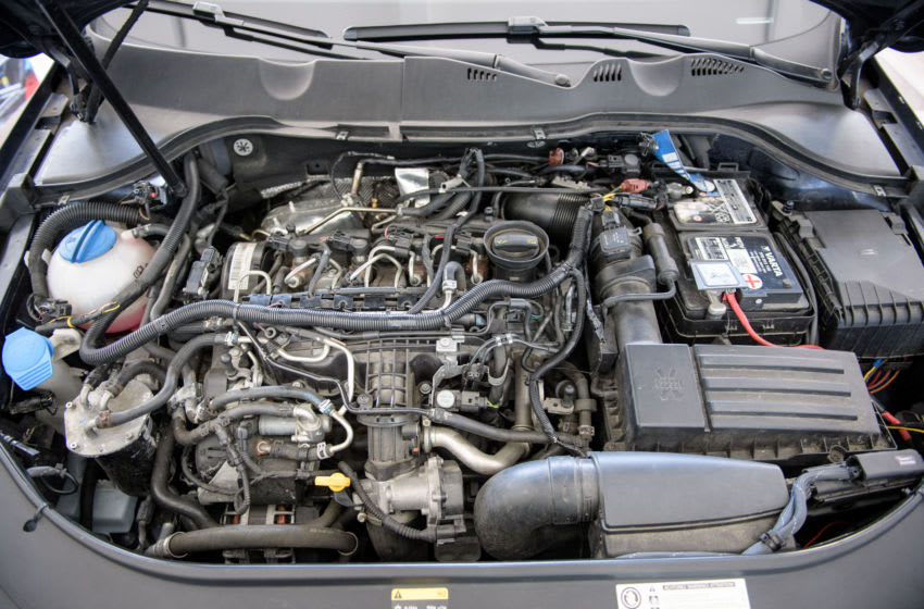 FRANKFURT, GERMANY - JULY 19: The TDI engine of a VW Passat car pictured at an automotive service center on July 19, 2018 in Frankfurt, Germany. So far the German government has only required leading automakers caught using illegal software to manipulate diesel emissions to recall the cars and update the software. Critics claim the measure is insufficient and that refitting cars with clean diesel equipment is the only viable solution. Car makers have so far lobbied successfully against such a requirement, citing the high cost. (Photo by Thomas Lohnes/Getty Images)