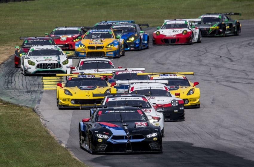 ALTON, VA - AUGUST 19: The field races through a turn at the start of the Michelin GT Challenge IMSA WeatherTech Series race at Virginia International Raceway on August 19, 2018 in Alton, Virginia. (Photo by Brian Cleary/Getty Images)