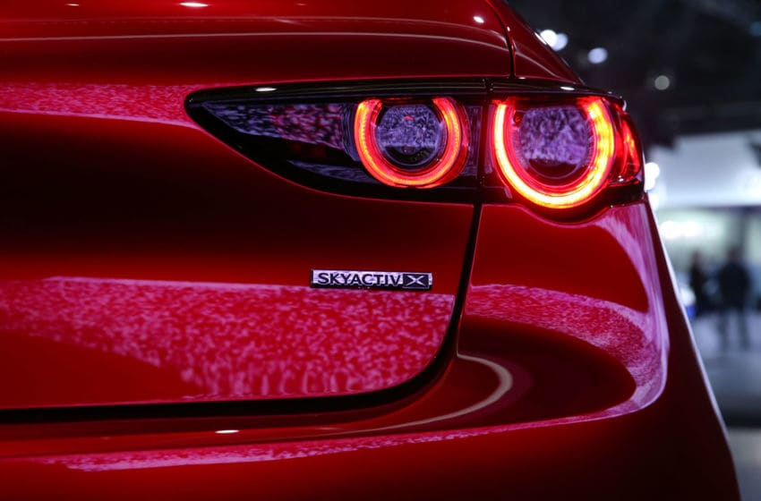 LOS ANGELES, CA - NOVEMBER 28: A detailed view of the Mazda3 is seen onstage during the L.A. Auto Show on November 28, 2018 in Los Angeles, California. (Photo by Victor Decolongon/Getty Images for Mazda Motor Co.)