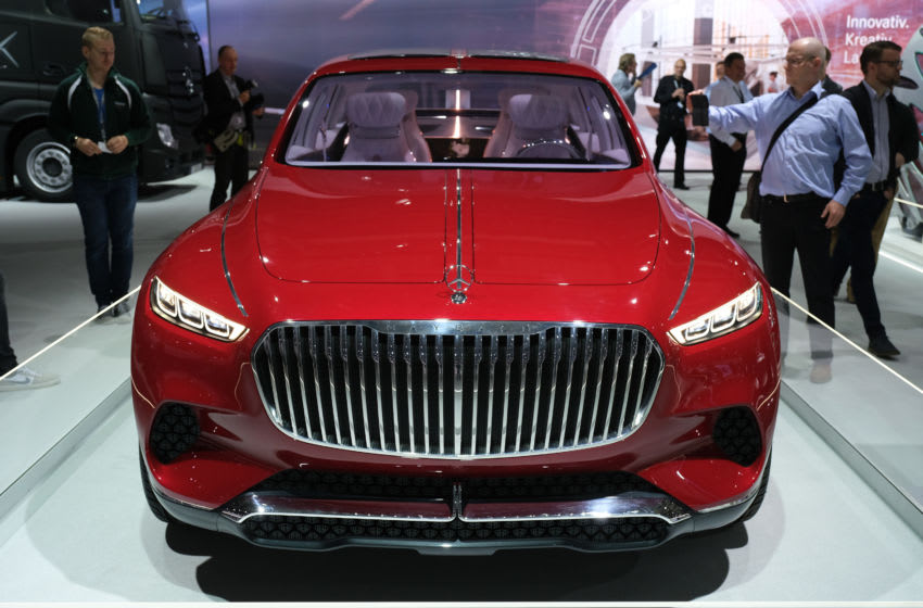 BERLIN, GERMANY - MAY 22: A Mercedes-Maybach luxury SUV stands among vehicles on display at the annual Daimler AG shareholders meeting on May 22, 2019 in Berlin, Germany. Daimler has struggled with falling sales in its Mercedes-Benz unit and recently halted sales of its electric Smart car in the USA. (Photo by Sean Gallup/Getty Images)