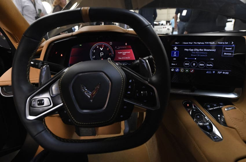 TUSTIN, CA - JULY 18: The dashboard of the new 2020 mid-engine C8 Corvette Stingray i seen after it was unveiled during a news conference on July 18, 2019 in Tustin, California. (Photo by Kevork Djansezian/Getty Images)