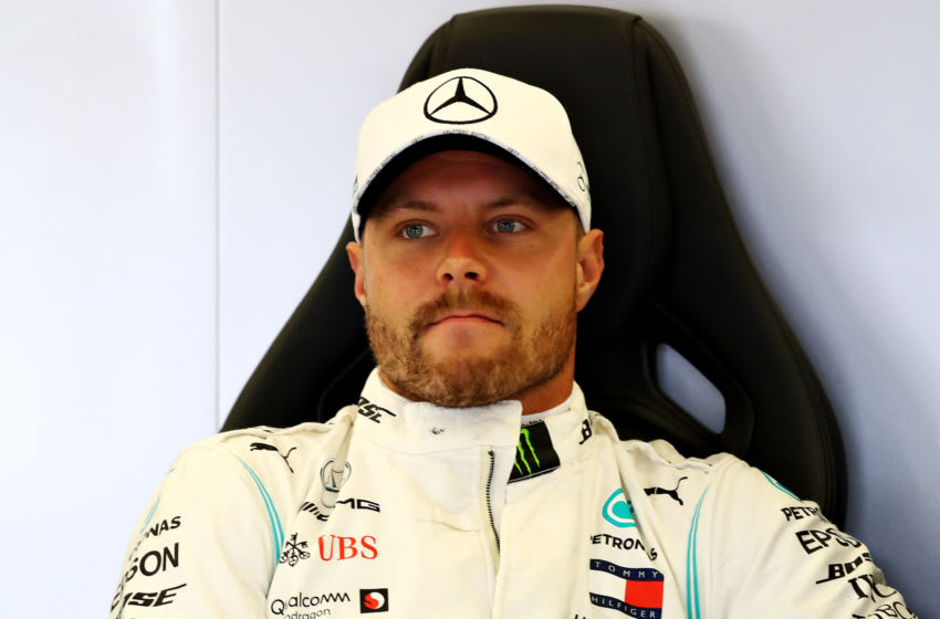 NORTHAMPTON, ENGLAND - JULY 13: Valtteri Bottas of Finland and Mercedes GP looks on in the garage during final practice for the F1 Grand Prix of Great Britain at Silverstone on July 13, 2019 in Northampton, England. (Photo by Mark Thompson/Getty Images)