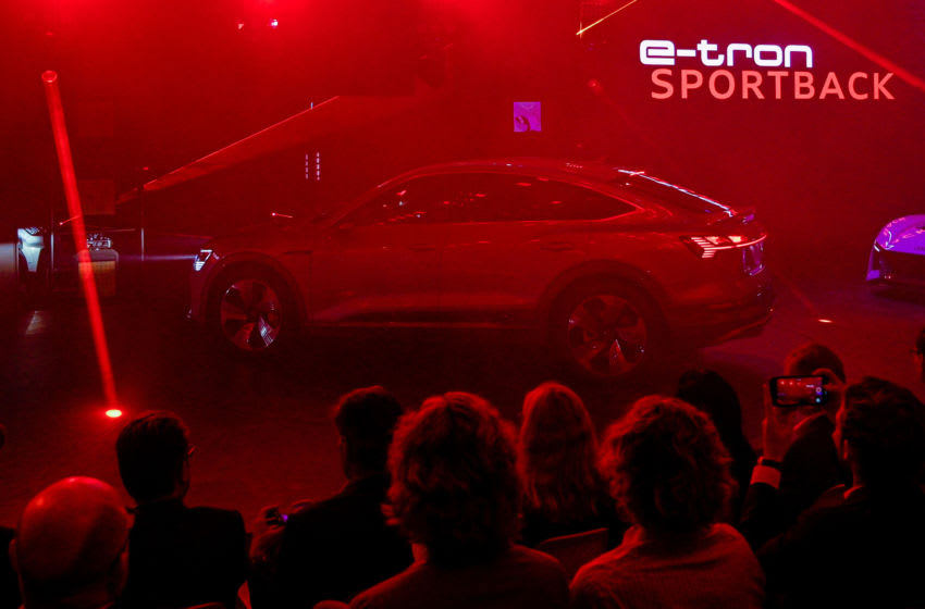 FRANKFURT AM MAIN, GERMANY - SEPTEMBER 10: The Audi e-tron Sportback is seen at the Audi press conference at the IAA Frankfurt Motor Show on September 10, 2019 in Frankfurt am Main, Germany. (Photo by Sascha Schuermann/Getty Images)