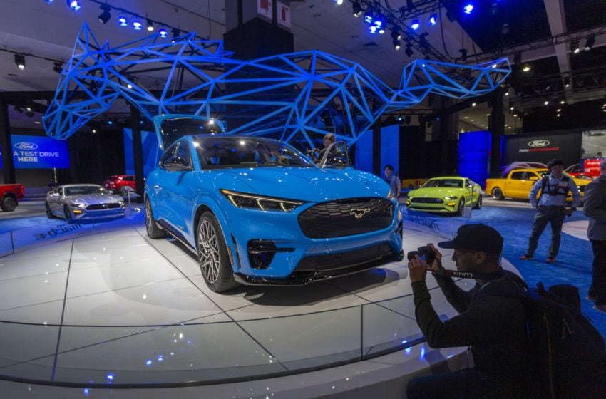 LOS ANGELES, CA - NOVEMBER 21: The electric Ford Mustang Mach-E is shown at AutoMobility LA on November 21, 2019 in Los Angeles, California. The four-day press and trade event precedes the Los Angeles Auto Show, which runs November 22 through December 1. (Photo by David McNew/Getty Images)