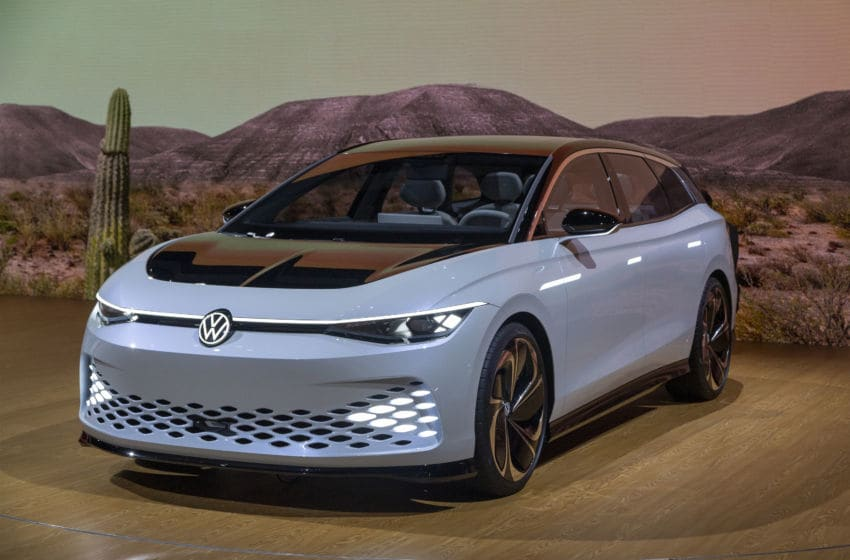LOS ANGELES, CA - NOVEMBER 21: The Volkswagon I.D. Space Vizzion is shown at AutoMobility LA on November 21, 2019 in Los Angeles, California. The four-day press and trade event precedes the Los Angeles Auto Show, which runs November 22 through December 1. (Photo by David McNew/Getty Images)
