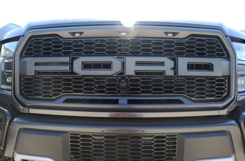 MIAMI, FL - OCTOBER 26: The front grill of a Ford F-150 pickup truck is seen on Metro Ford's sales lot on October 26, 2017 in Miami, Florida. Ford reported it's quarterly earnings per share of 39 cents, above Wall Street expectations of 33 cents driven in part by strong sales of its F-Series pickup trucks. (Photo by Joe Raedle/Getty Images)