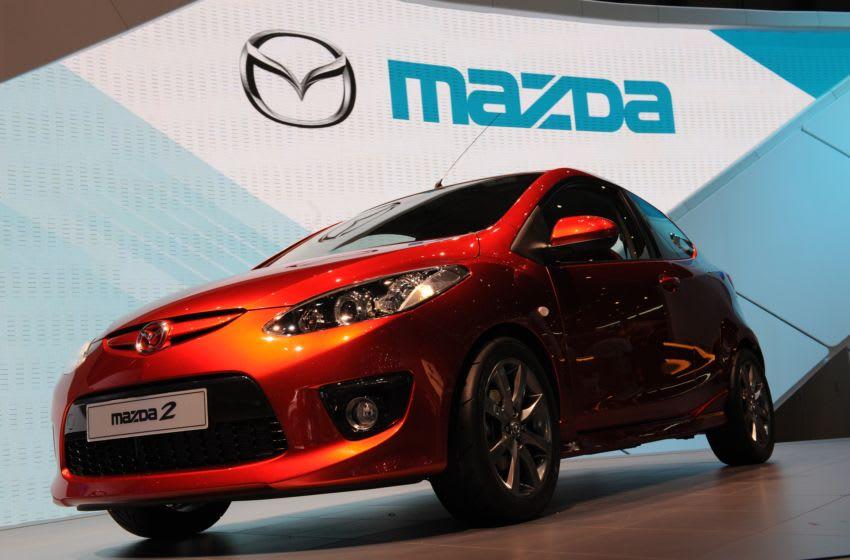 Mazda 2 on display at the Geneva International Motor Show in Geneva, Switzerland (Photo by Lionel FLUSIN/Gamma-Rapho via Getty Images)